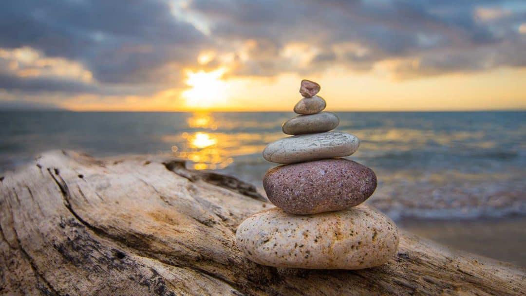Stacked zen rocks
